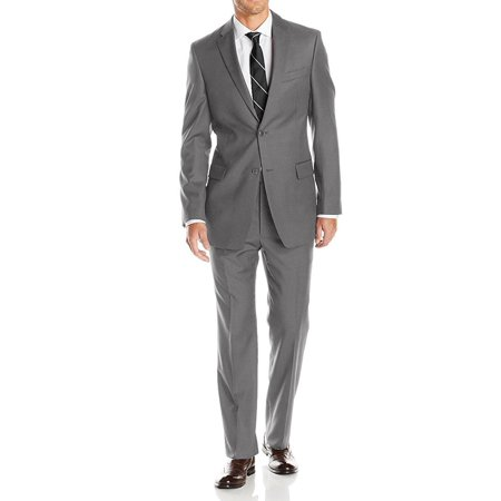 Mens Gray Suit Coat - LN LUCIANO NATAZZI Mens Suits 2 Button Modern Fit Side Vent Narrow Stripe Suit Grey