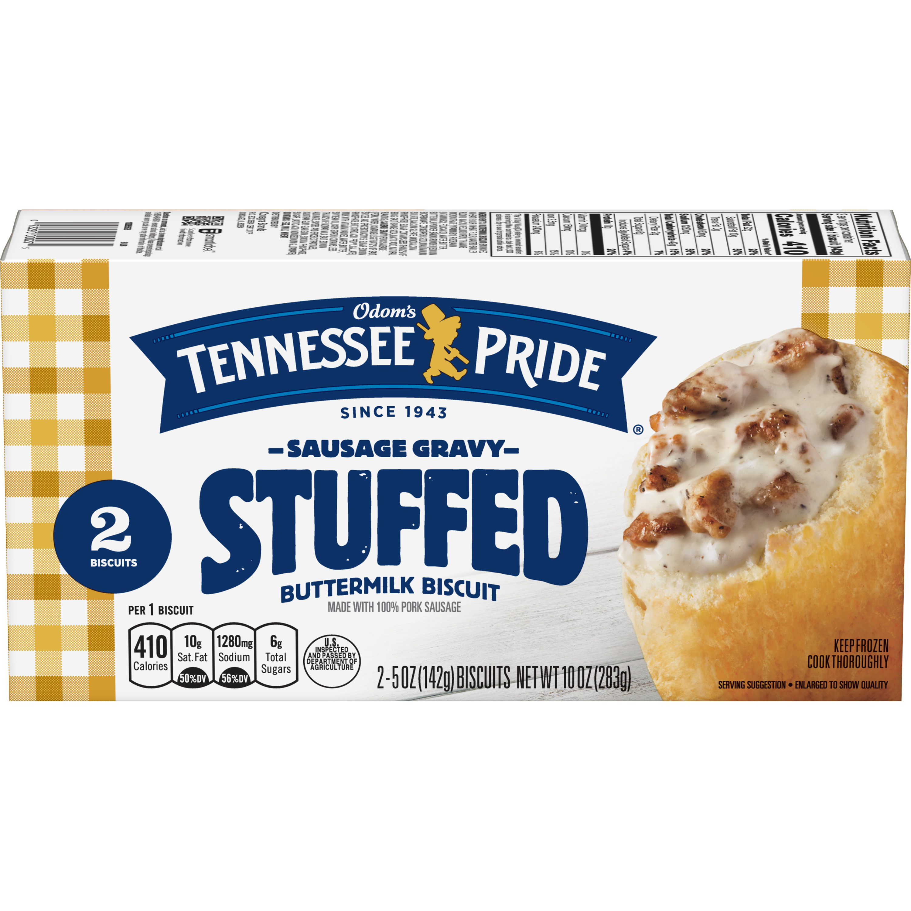 Odom's Tennessee Pride Sausage & Gravy Stuffed Biscuits, 10 Ounce (2-Count Package)