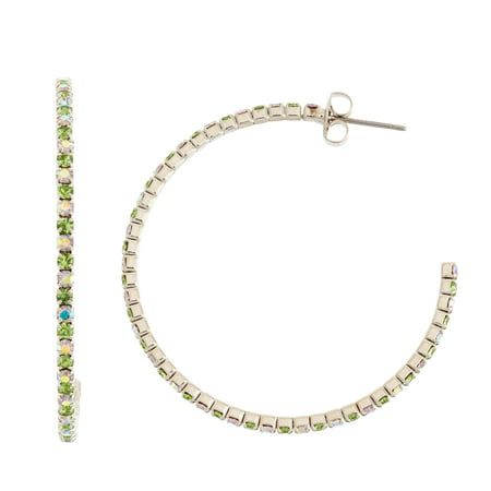 X & O Rhodium Plated 45mm J-Hoop Earring in Peridot and Crystal AB Combination