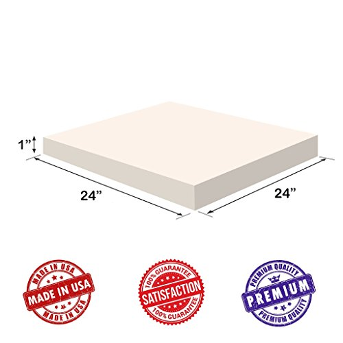"""Upholstery Foam-Square Cushion Sheet- 1""""x24""""x24"""" Regular Density - Soft-Premium Luxury Quality-Good for Chair Cushions-Sofa Cushions-Wheelchairs-Poker Tables and much more, Dream Solutions USA"""