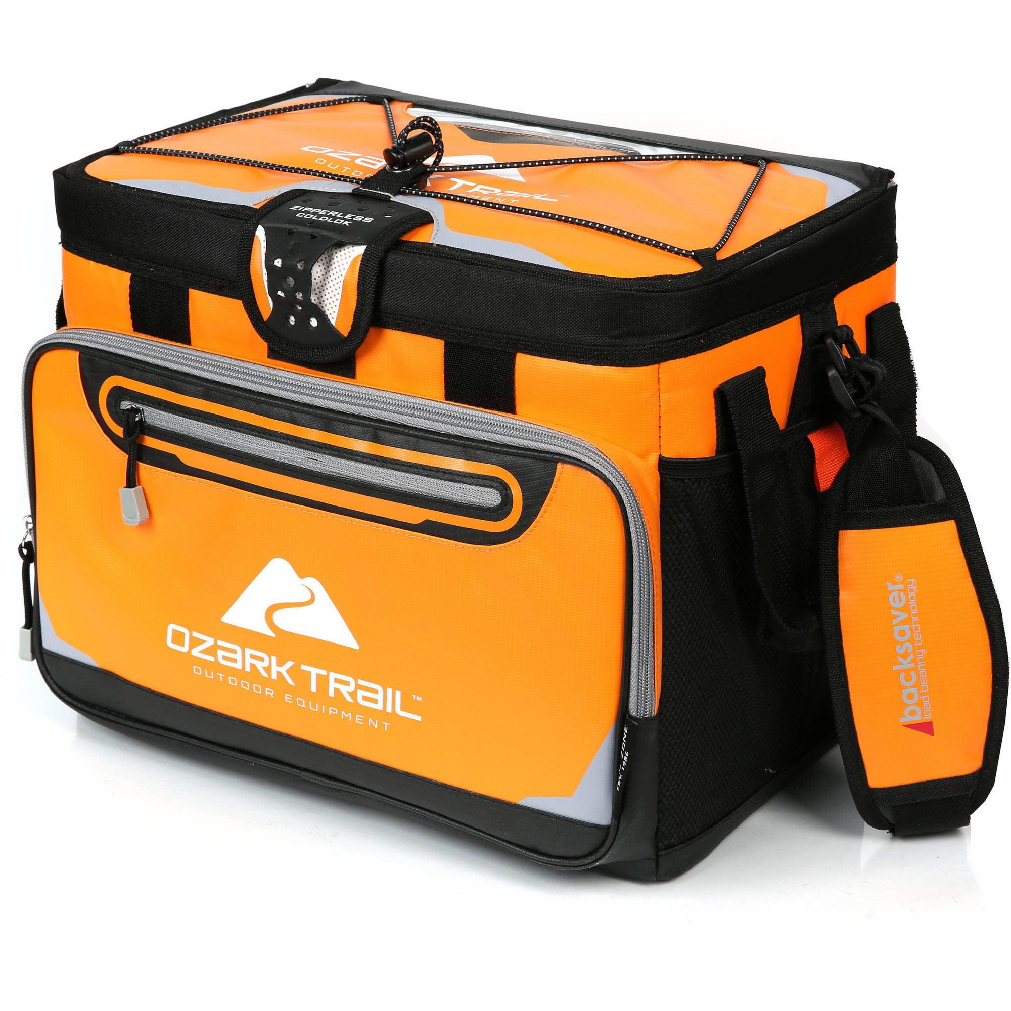 Ozark Trail 30-Can Zipperless Cooler with Smartshelf, Orange