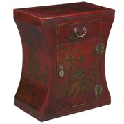 EXP Handmade Antique Style End Table with Concave Sides, Intricate Hand-Painted Oriental Scene