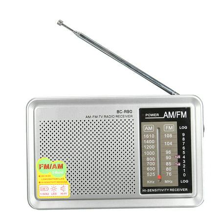 2 Pack INDIN BC-R90 LED HIFI Mini Portable AM / FM Pocket Radio Telescopic Antenna World Receiver Music Player W/ Stereo Speaker Jack 3.5mm Earphone Jack Gift (Halloween Kid Music Radio)