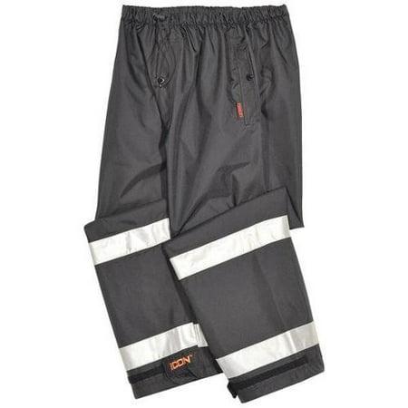 TINGLEY P24123-XL Rain Pants, Polyester, Black/Silver, XL