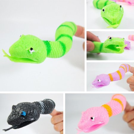 Heepo Bendable Forked Tongue Snake Hand Finger Puppet Halloween Props Toys Kids Adults (Paper Bag Puppets For Halloween)