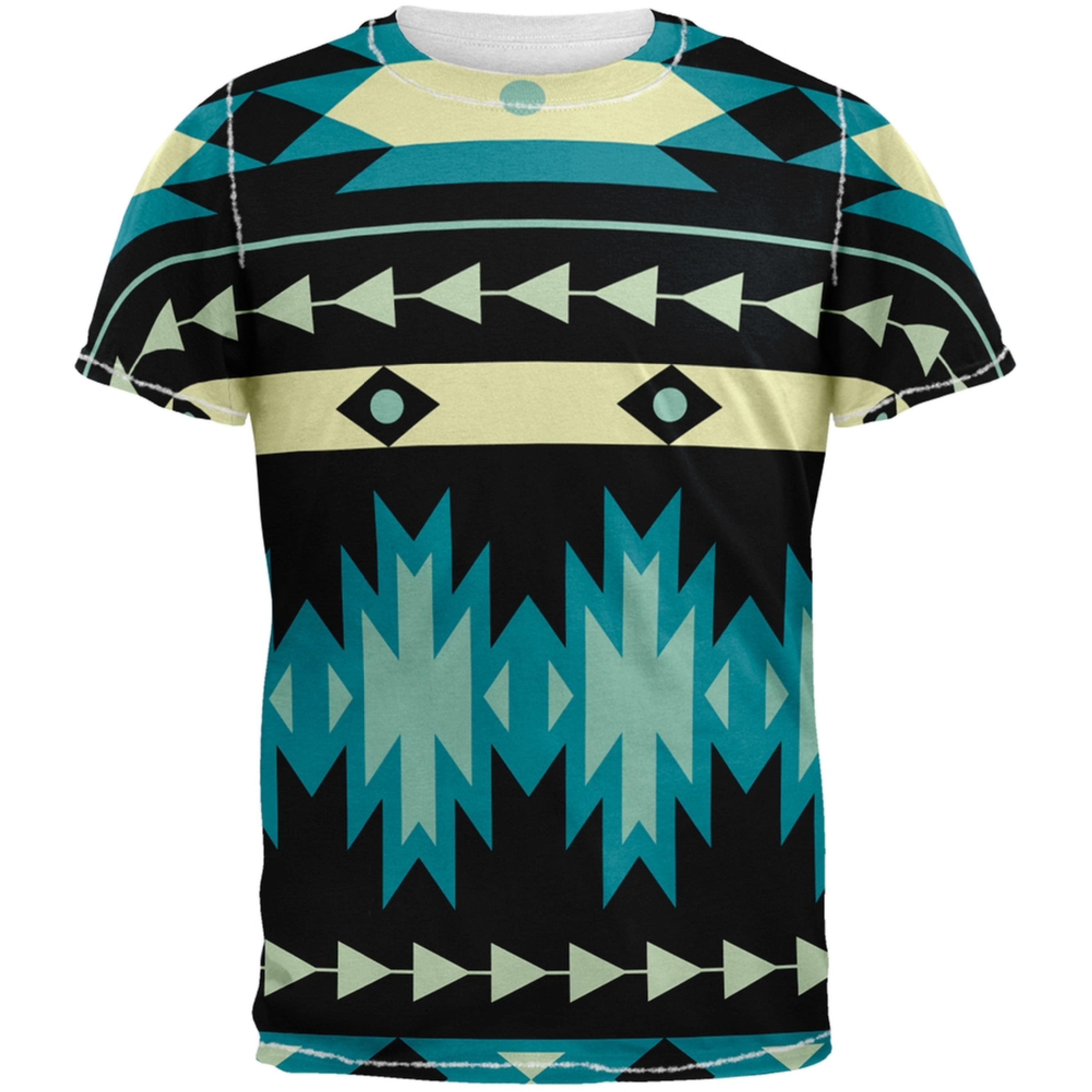 Native American Pattern Blue All Over Adult T-Shirt