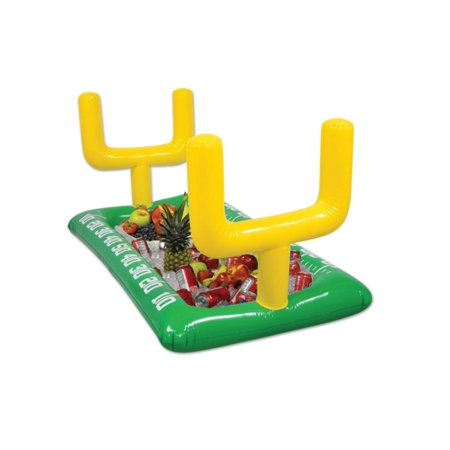 Pack of 6 Green Inflatable Football Field with Yellow Goal Posts Game Day Buffet Coolers 53.75