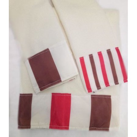Elegant Design 3-Piece Decorative Bath Hand Towel Set Bathroom Wash Cloth - Winry Red &
