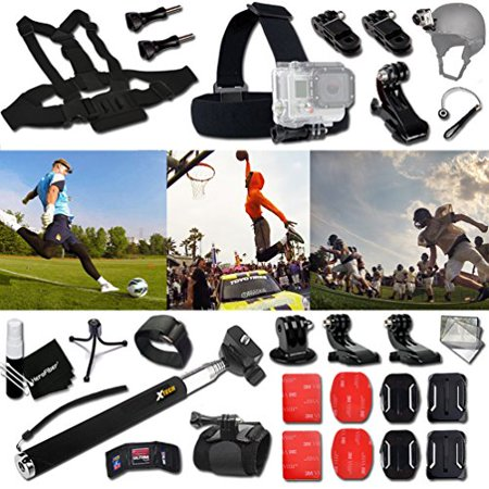 Xtech® FOOTBALL ACCESSORIES Kit for GoPro Hero 4 3+ 3 2 1 Hero4 Hero3 Hero2, Hero 4 Silver, Hero 4 Black, Hero 3+ Hero3+ Hero 3 Silver, Hero 3 Black and for basketball, Soccer, Football, Golf, (Skechers Go Golf Pro 2 Lx Golf Shoes)