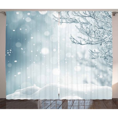 Winter Curtains 2 Panels Set, Christmas Image Snow and Frosted Tree Snowflakes Winter Season Illustration, Window Drapes for Living Room Bedroom, 108W X 84L Inches, Slate Blue White, by Ambesonne