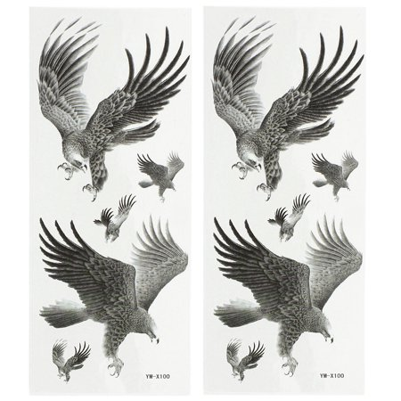 Eagle Wings Tattoos (Unique Bargains 2 Sheets Back Leg Removable Eagle Pattern Sticker Temporary Tattoos Dark Gray)