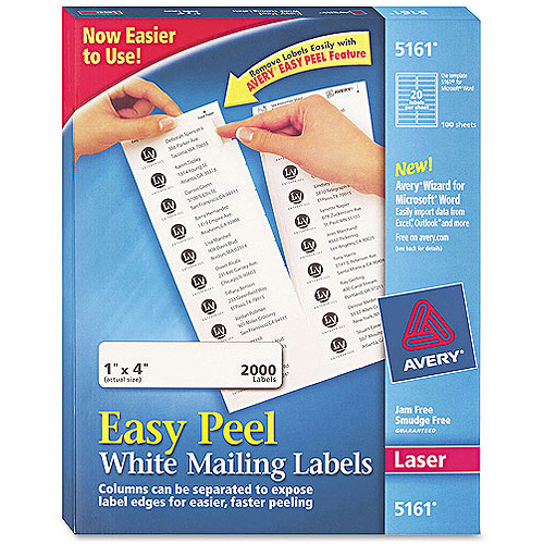 "Avery 5161 Easy Peel White Address Labels for Laser Printers, 1"" x 4"", 2000 Labels/Pack"