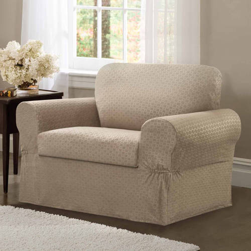Maytex Stretch Conrad 2 Piece Armchair Furniture Cover Slipcover, Charchoal Grey