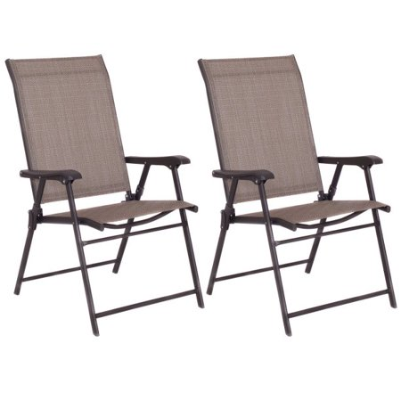 Goplus Set of 2 Patio Folding Sling Chairs Furniture Camping Deck Garden Pool Beach ()