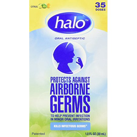 2 Pack HALO Oral Antiseptic Citrus Spray Protects against Airborne Germs 1 Oz