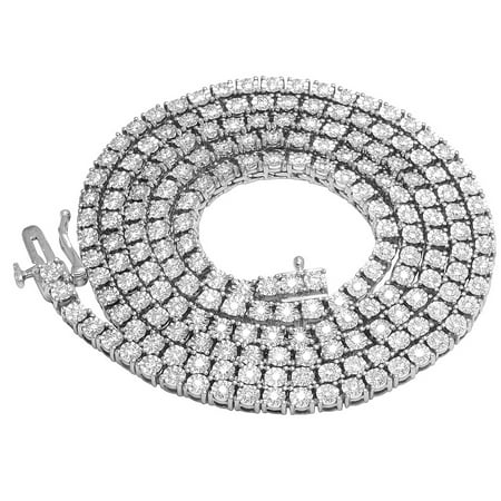 Mens 10K White Gold 1 Row Tennis Choker Real Diamond Chain Necklace 3.8CT 24