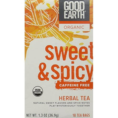 Good Earth Teas Organic Sweet and Spicy Caffeine Free Herbal 18 Tea Bags, 4