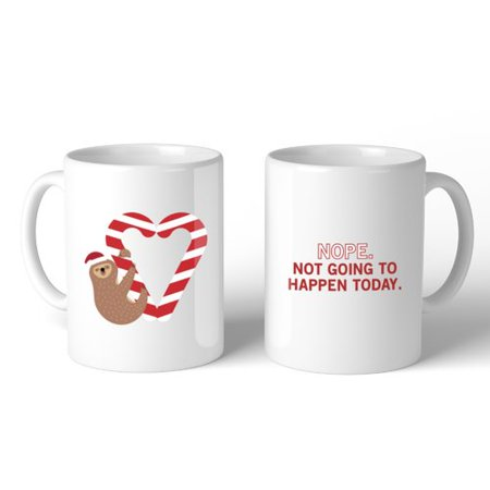 365 Printing Inc Sloth Heart Candy Cane Ceramic Mug