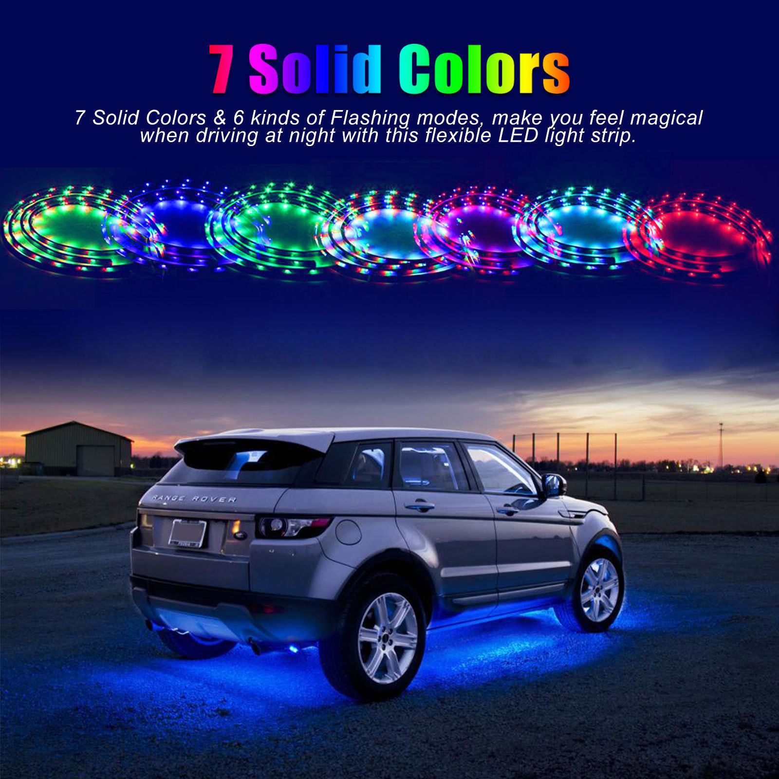 7 Color 4pcs Led Strip Under Car Tube Underglow Underbody