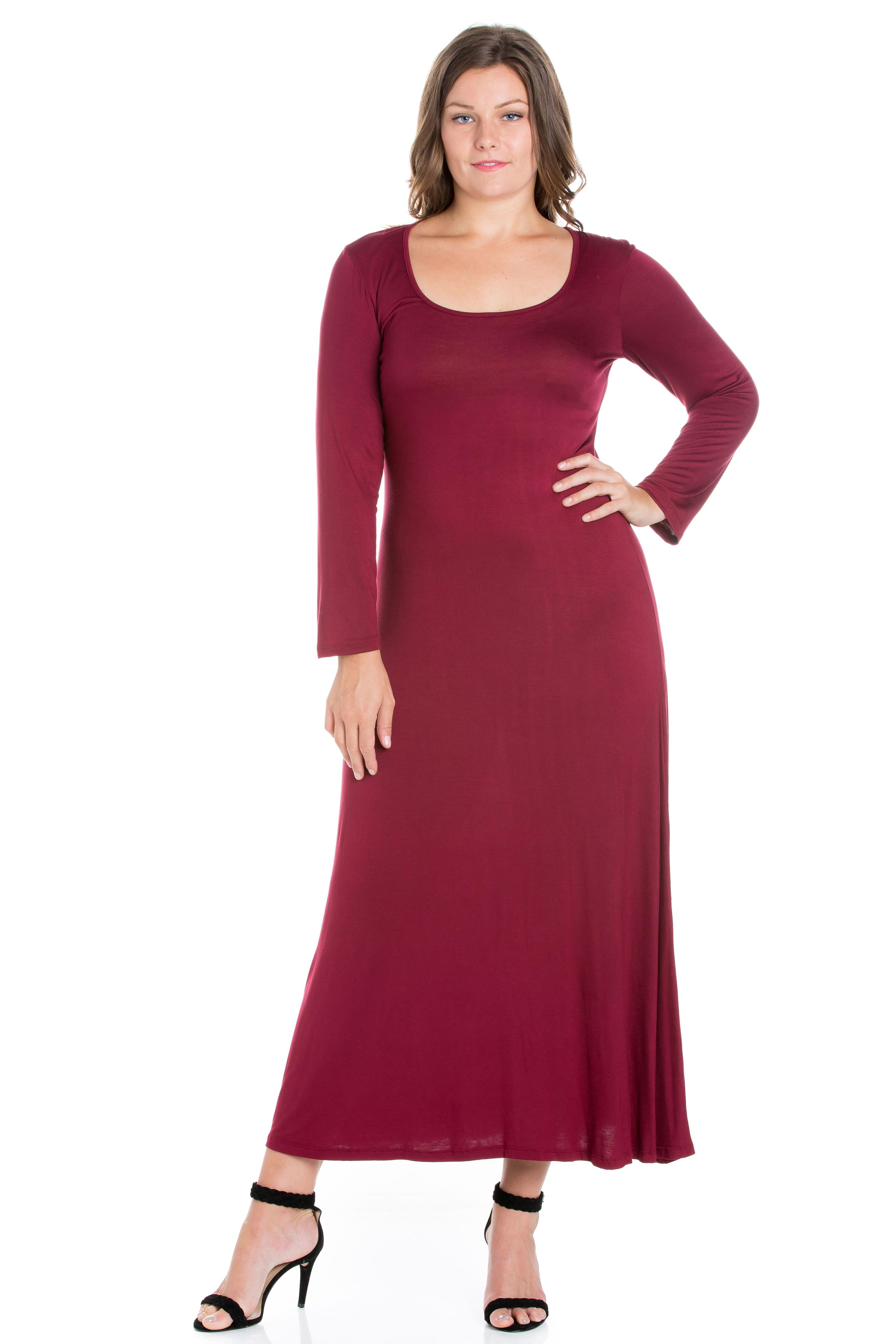 24seven Comfort Apparel Women\'s Long Sleeve Plus Size Maxi Dress