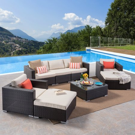 Faviola Outdoor 5 Seater Wicker Chat Set with Aluminum Frame and Cushions, Multibrown, Beige ()