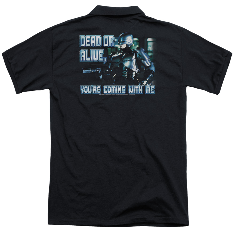 Mgm Robocop Dead Or Alive (Back Print) Mens Polo Shirt