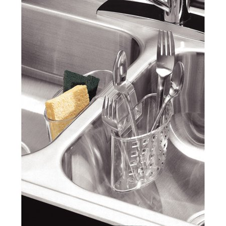 InterDesign Kitchen Sink Protector Flatware Organizer And Sponge - Kitchen sink sponge holder