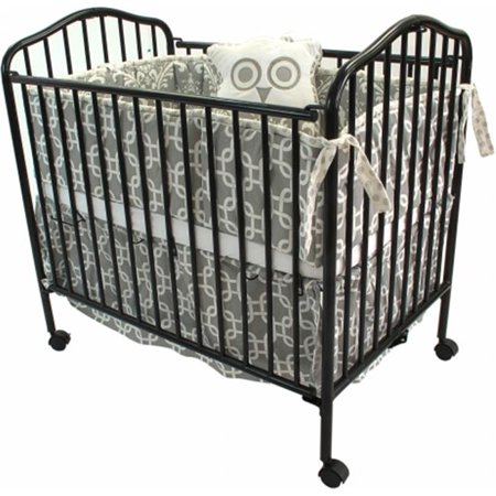 L.A. Baby Portable Mini Crib with Mattress Black - Walmart.com