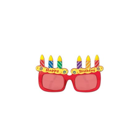 Club Pack of 12 Multi-Colored Birthday Cake Eyeglass Party Favor Costume Accessories - Birthday Cake Costume For Adults