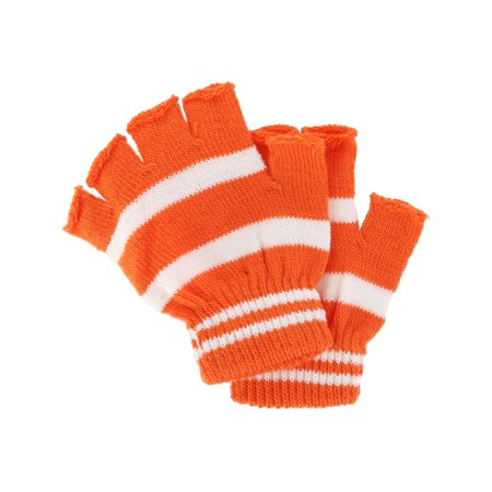 Size  one size Toddler Stretch Striped Fingerless Gloves White Stretch Glove