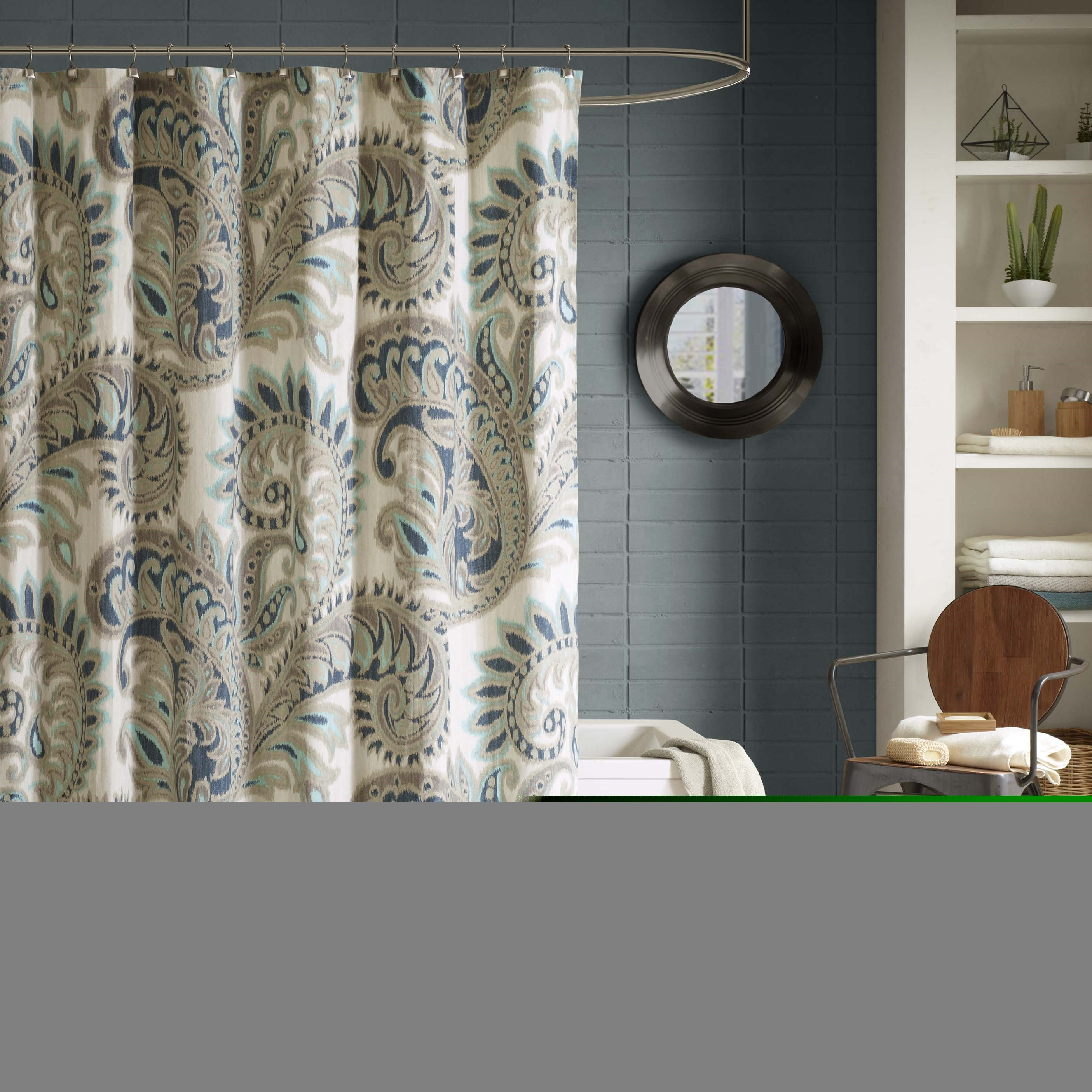 INK+IVY Mira Cotton Printed Shower Curtain In Blue