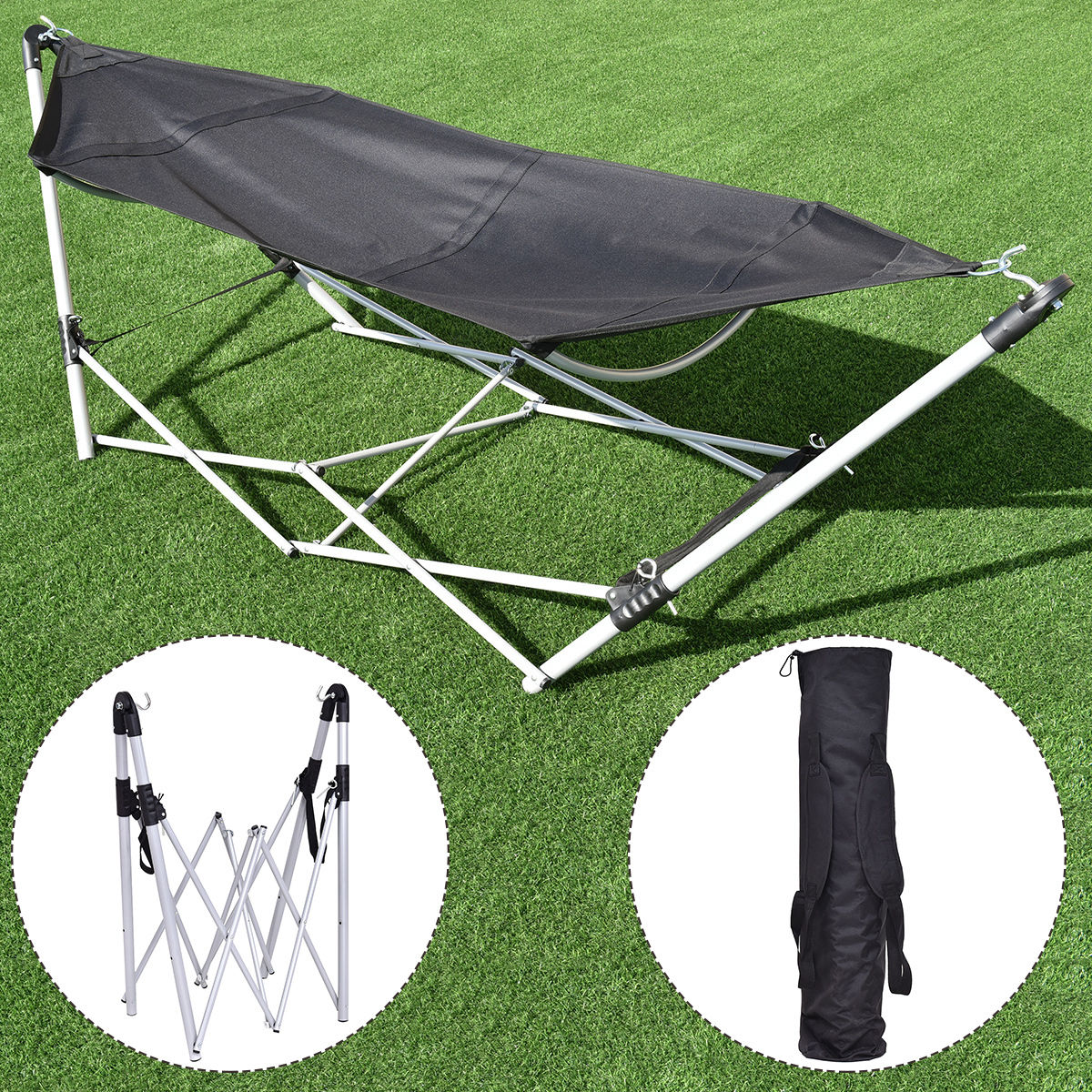 GHP Black 264-Lbs Cacpacity Steel Frame Oxford Fabric Folding Hammock with Stand