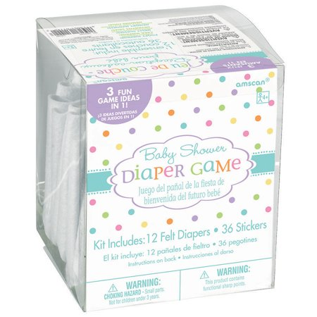 Baby Shower Diaper Game Kit, includes 36 Stickers and 3 Game Ideas - Baby Showe Games