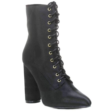 Black Lace Up Pointy Toe Satin Vegan Women's Boots Midcalf - - Witch Booties