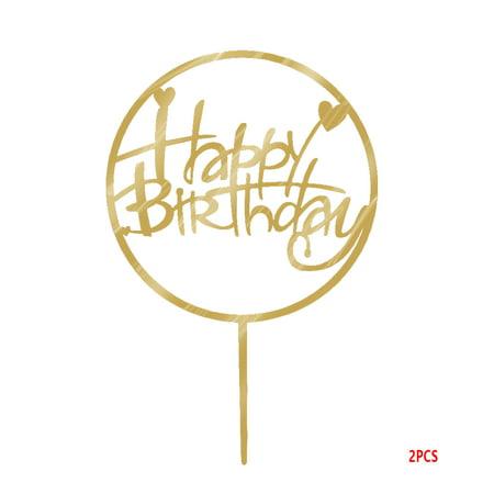 Amazing Round Happy Birthday Cake Topper Acrylic Gold Twinkle Diy Glitter Funny Birthday Cards Online Hetedamsfinfo