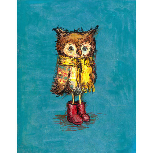 Oopsy Daisy - Owl in Big Red Boots Canvas Wall Art 14x18, Jennifer Stables