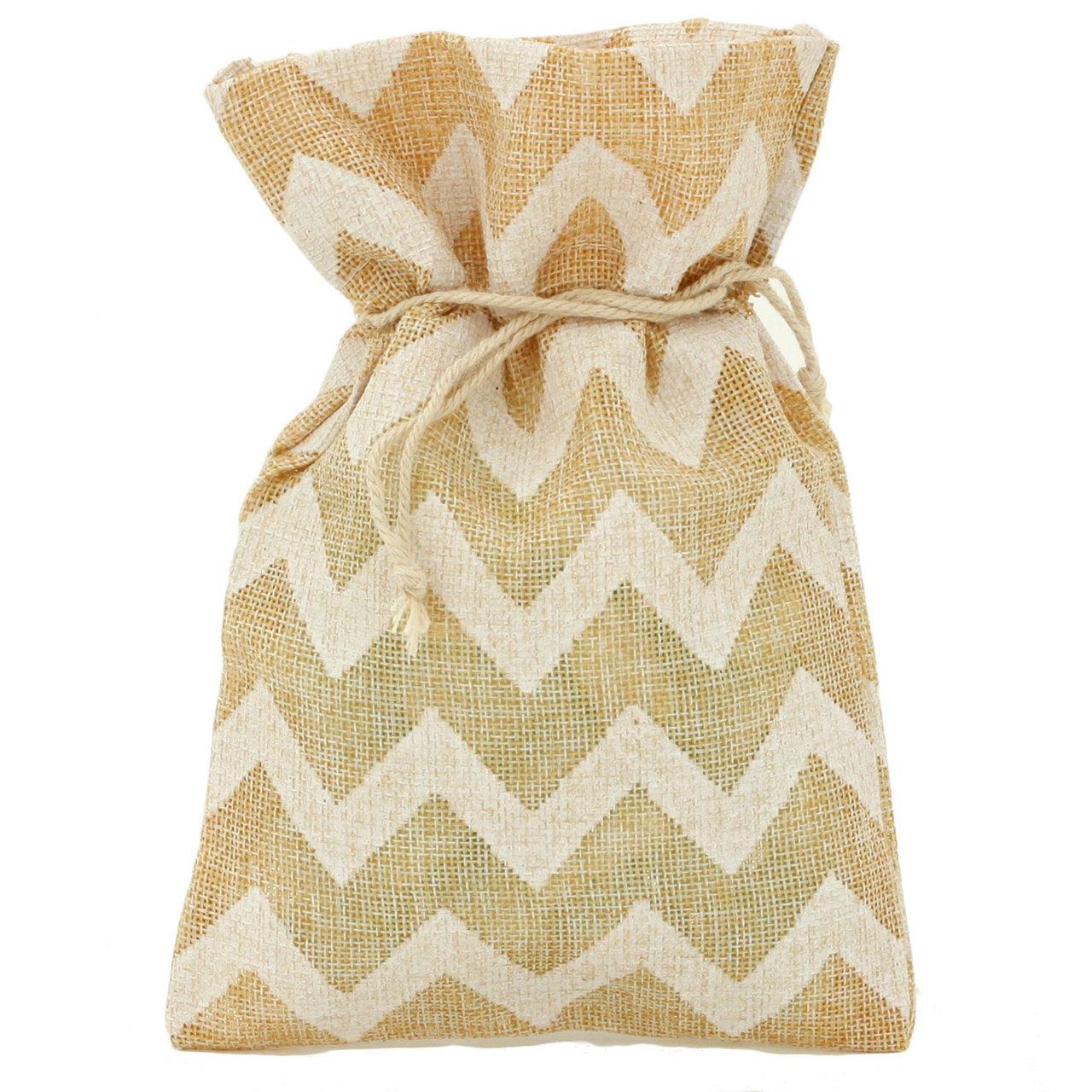 20 Burlap Chevron Style Cute Gift Party Favor Fabric Birthday Treat Goody Bag - Beige/White