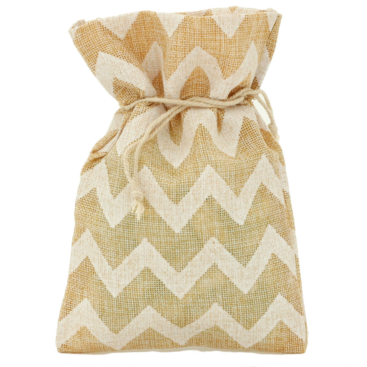 20 Burlap Chevron Style Cute Gift Party Favor Fabric Birthday Treat Goody Bag - Beige/White