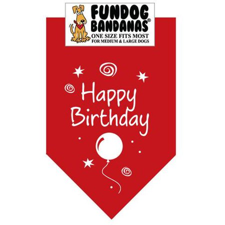 Fun Dog Bandana - Happy Birthday - One Size Fits Most for Med to Lg Dogs, red pet scarf - Happy Birthday Dog