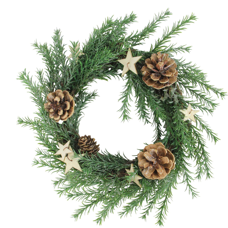 "11"" Pine with Pine Cones & Stars X-mas Wreath"
