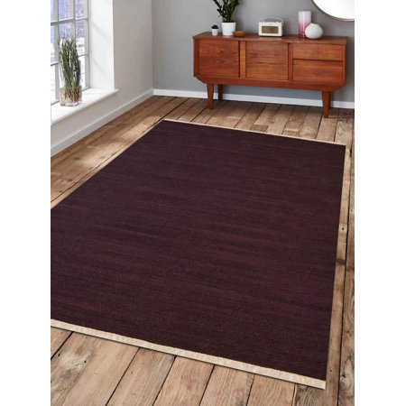 Rugsotic Carpets Hand Woven Flat Weave Kilim Wool 7'x9' Area Rug Solid Plum D00111 ()