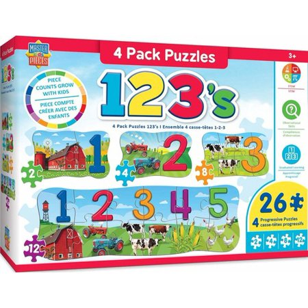 MasterPieces Educational - 123 on the Farm 4 Pack Puzzle