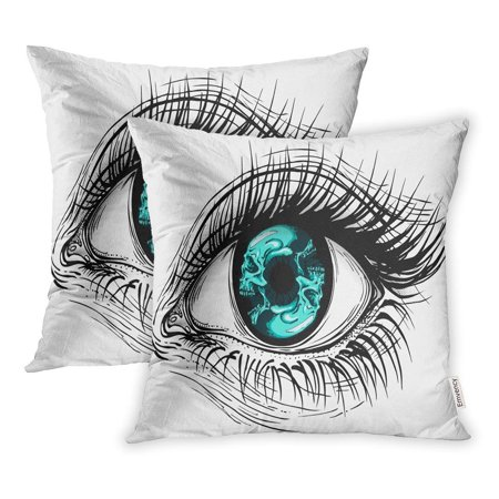 CMFUN Tattoo Realistic Human Eye Girl Circular Blue Skull Iris Eyeball Pillowcase Cushion Cover 16x16 inch, Set of 2 (Eyeball Tattoos)