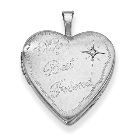 925 Sterling Silver 20mm Best Friends Bestfriend Friendship Diamond Heart Photo Pendant Charm Locket Chain Necklace That Holds Pictures Gifts For Women For Her ()