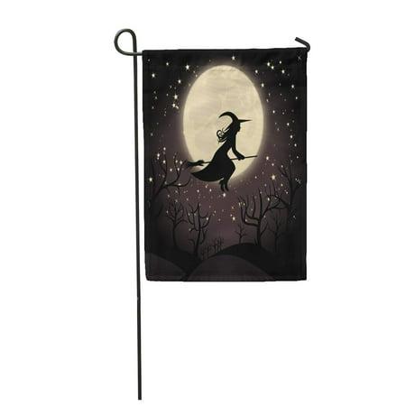 Beautiful Halloween (LADDKE Halloween Witch with Broom Hat Moon Silhouette Woman Autumn Beautiful Black Garden Flag Decorative Flag House Banner 12x18)