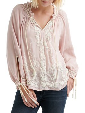 73bc8a451d8 Product Image Embroidered Lace-Up Peasant Blouse. Lucky Brand