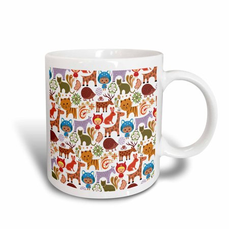 3dRose Cats, Porcupines, Deer, Rabbits, Tigers, Zebras, Butterflies and Child Pattern, Ceramic Mug, 11-ounce