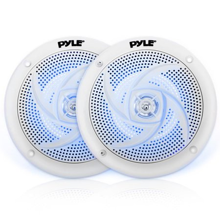 Pyle PLMRS43WL - Waterproof Rated Marine Speakers, Low-Profile Slim Style Speaker Pair with Built-in LED Lights, 4.0''-inch (100