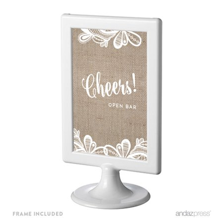 Open Bar Cheers! Burlap Lace Wedding Framed Party Signs](Open Bar Wedding)