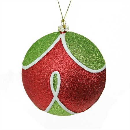 Merry & Bright Red Green and White Glitter Shatterproof Christmas Ball Ornament 4